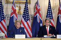 November 20, 2013  (Washington, DC)  Australian Foreign Minister Julie Bishop and U.S. Secretary of State John Kerry meet at the State Department with Secretary of Defense Chuck Hagel and Australian Defence Minister David Johnston.   (Photo by Don Baxter/Media Images International)