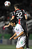 Ottawa Fury No. 32 Colin Falvey heads a ball away from New York Cosmos No. 7 Raul during the second half of the NASL Championship at Shuart Stadium, located on the campus of Hofstra University, on Sunday, Nov. 15, 2015. The Cosmos won the match by a score of 3-2. (note to editor: Cosmos player goes by a single name)<br /> <br /> James Escher
