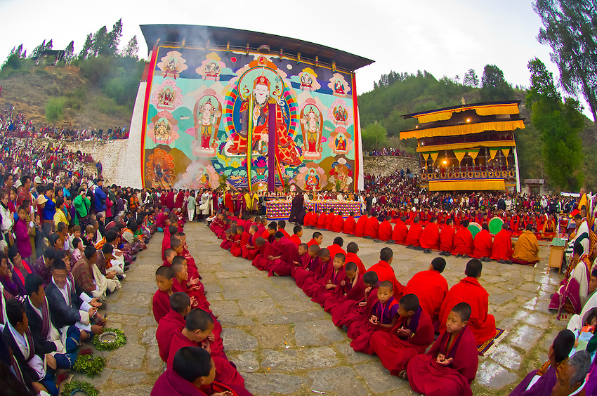 Shungdrei ceremony at the Paro Teschu festival, Paro Dzong Monastery,  Paro Valley, Bhutan