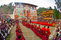 Shungdrei ceremony at the Paro Teschu festival, Paro Dzong Monastery,  Paro Valley, Bhutan
