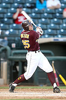 Zach Wilson #25 of the Arizona State Sun Devils bats against Northern Illinois University in the annual Coca-Cola Classic at Surprise Stadium on March 4, 2011 in Surprise, Arizona..Photo by:  Bill Mitchell/Four Seam Images.