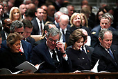 Columba Bush, former Florida Gov. Jeb Bush, Laura Bush and former President George W. Bush attend the State Funeral for former President George H.W. Bush at the Washington National Cathedral, Wednesday, Dec. 5, 2018, in Washington.<br /> Credit: Alex Brandon / Pool via CNP