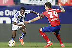 Atletico de Madrid's Jose Maria Gimenez (r) and Real Sociedad's Bruma during La Liga match. March 1,2016. (ALTERPHOTOS/Acero)