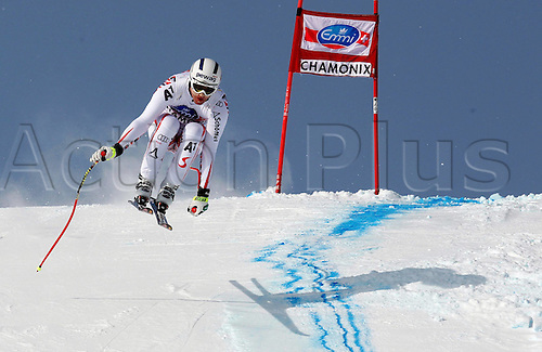 04.02.2012 Chamonix France.  Ski Alpine FIS World Cup Downhill for men Picture shows Romed Baumann AUT