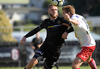 Hamish Watson controls the ball during the ISPS Handa Premiership semifinal between Team Wellington and Canterbury United at David Farrington Park in Wellington, New Zealand on Sunday, 25 January 2018. Photo: Dave Lintott / lintottphoto.co.nz