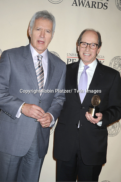 """Alex Trebek and Harry Friedman winners for """"Jeopardy attends the 71st Annual Peabody Awards at the Waldorf Astoria Hotel in New York City on May 21, 2012."""