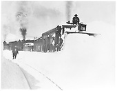 Front view of D&amp;RG rotary snow plow OM being pushed by two engines.<br /> D&amp;RG  Cumbres, CO