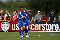 Zack Foxhoven (8) of the Academy Select Team celebrates scoring with Scott Thomsen (13). The US U-17 Men's National Team defeated the Development Academy Select Team 5-3 during day two of the US Soccer Development Academy  Spring Showcase in Sarasota, FL, on May 23, 2009.
