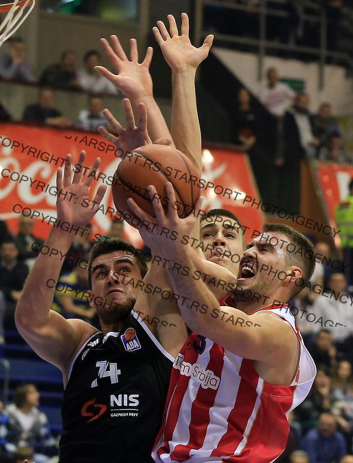 Kosarka ABA League season 2015-2016<br /> Crvena Zvezda v Partizan<br /> Marko Guduric (R) and Vanja Marinkovic Bozo Djumic (L)<br /> Beograd, 03.11.2015.<br /> foto: Srdjan Stevanovic/Starsportphoto&copy;