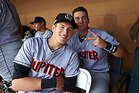 Jupiter Hammerheads Ryan Aper (left) and Brian Schales (right) in the dugout for a rain delay during a game against the Lakeland Flying Tigers on March 14, 2016 at Henley Field in Lakeland, Florida.  Lakeland defeated Jupiter 5-0.  (Mike Janes/Four Seam Images)