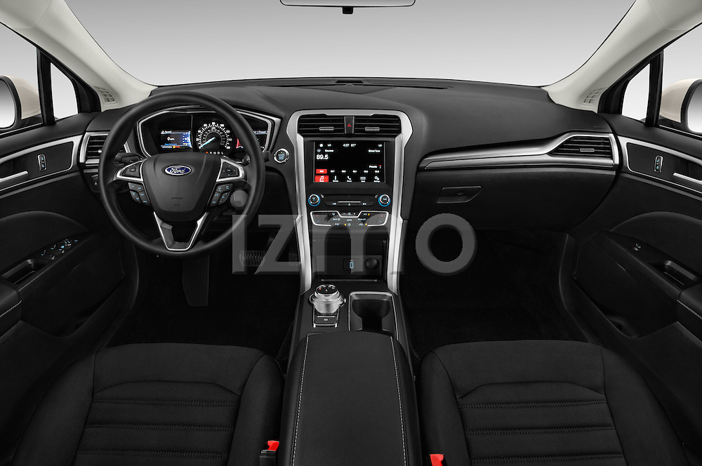 Stock photo of straight dashboard view of 2017 Ford Fusion SE-FWD 4 Door Sedan Dashboard