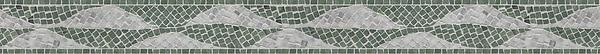 "3 5/8"" Foliole border, a hand-chopped stone mosaic, shown in tumbled Carrara and Wujan Jade."