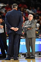 Washington, DC - July 13, 2019: Las Vegas Aces head coach Bill Laimbeer and Washington Mystics head coach Mike Thibault talk before game between Las Vegas Aces and Washington Mystics at the Entertainment & Sports Arena in Washington, DC. (Photo by Phil Peters/Media Images International)