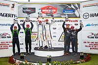 GS Podium, #46 Team TGM Mercedes-AMG, GS: Owen Trinkler, Hugh Plumb, #39 Carbahn Motorsports Audi R8, GS: Tyler McQuarrie, Jeff Westphal, #56 Murillo Racing Mercedes-AMG, GS: Jeff Mosing, Eric Foss