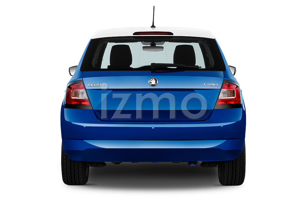 Straight rear view of a 2015 Skoda Fabia Ambition 5 Door Hatchback Rear View  stock images