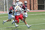 Orange, CA 05/01/10 - Madison Fiore (Chapman # 13) and Marc Napp (LMU # 1) in action during the LMU-Chapman MCLA SLC semi-final game in Wilson Field at Chapman University.  Chapman advanced to the final by defeating LMU 19-10.