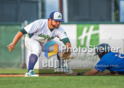 21 July 2016: Vermont Lake Monsters infielder Nate Mondou in first inning action against the Hudson Valley Renegades at Centennial Field in Burlington, Vermont. The Lake Monsters edged out the Renegades 4-3 in NY Penn League play. Mandatory Credit: Ed Wolfstein Photo *** RAW (NEF) Image File Available ***