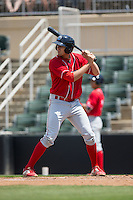 Brendon Hayden (34) of the Lakewood BlueClaws at bat against the Kannapolis Intimidators at Kannapolis Intimidators Stadium on May 8, 2016 in Kannapolis, North Carolina.  The Intimidators defeated the BlueClaws 3-2.  (Brian Westerholt/Four Seam Images)