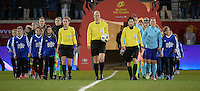 20161124 - LEUVEN ,  BELGIUM : both teams entering the stadium with referee Bibiana Steinhaus (M) and assistant referees Katrin Rafalski (R)  Imke Lohmeyer (L)  pictured during the female soccer game between the Belgian Red Flames and The Netherlands , a friendly game before the European Championship in The Netherlands 2017  , Thursday 24 th November 2016 at Stadion Den Dreef  in Leuven , Belgium. PHOTO SPORTPIX.BE | DIRK VUYLSTEKE