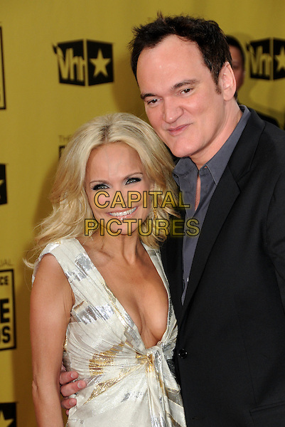 KRISTIN CHENOWETH  & QUENTIN TARANTINO .15th Annual Critics' Choice Movie Awards - Arrivals held at the Hollywood Palladium, Hollywood, California, USA, 15th January 2010..half length suit jacket hands grey gray shirt black cleavage low cut dress cream gold silver print .CAP/ADM/BP.©Byron Purvis/Admedia/Capital Pictures