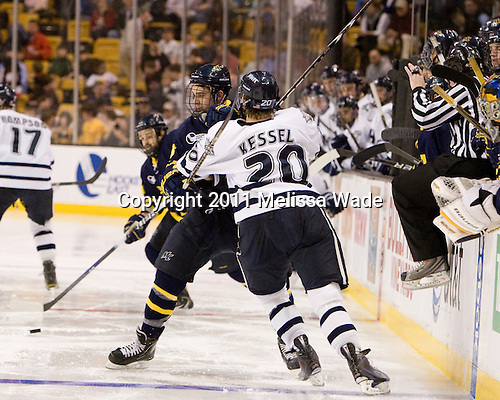 Mike Collins (Merrimack - 13), Blake Kessel (UNH - 20) - The Merrimack College Warriors defeated the University of New Hampshire Wildcats 4-1 (EN) in their Hockey East Semi-Final on Friday, March 18, 2011, at TD Garden in Boston, Massachusetts.