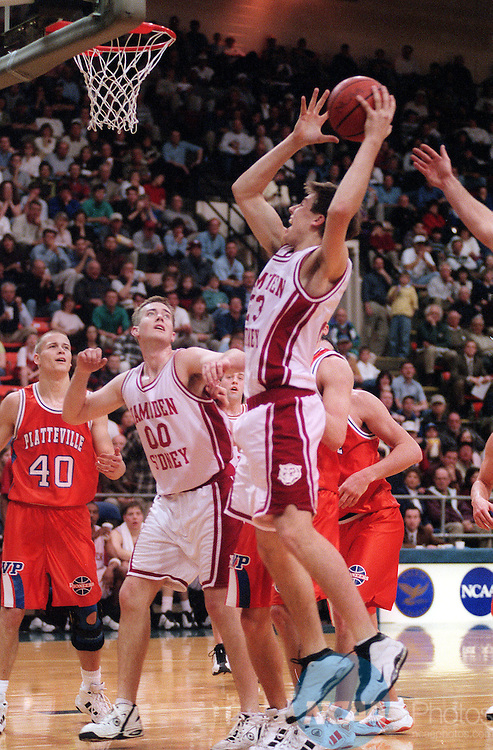 MAR 20 1999: Hampden forward Bobby Jackson takes a shot against his University of Wisconsinâ??Platteville opponents during the Men's Division III Basketball Championship held at the Salem Civic Center in Salem, VA.  Plattville defeated Hampden 76-75 after double overtime. Andres Alonso/NCAA Photos.