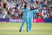 James Vince (England) congratulates Jofra Archer (England) on the wicket of Soumya Sarkar (Bangladesh) during England vs Bangladesh, ICC World Cup Cricket at Sophia Gardens Cardiff on 8th June 2019