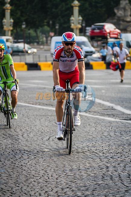 Katusha rider after finishing, Tour de France, Stage 21: Évry > Paris Champs-Élysées, UCI WorldTour, 2.UWT, Paris Champs-Élysées, France, 27th July 2014, Photo by Pim Nijland