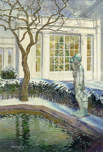 "Washington, D.C. - December 13, 2007 -- Front of the 2007 White House Christmas card sent by United States President George W. Bush and first lady Laura Bush.  The painting, originally a watercolor measuring 27 inches by 18 inches, was done by artist David Drummond.  It depicts the East Colonnade of the White House and the statue ""Gardener"" by Sylvia Shaw Judson in the Jacqueline Kennedy Garden.  .Credit: Ron Sachs / CNP"