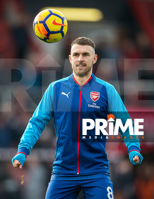 Aaron Ramsey of Arsenal ahead of the Premier League match between Bournemouth and Arsenal at the Goldsands Stadium, Bournemouth, England on 14 January 2018. Photo by Andy Rowland.