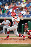 Palm Beach Cardinals second baseman Luke Dykstra (32) at bat during a game against the Clearwater Threshers on April 15, 2017 at Spectrum Field in Clearwater, Florida.  Clearwater defeated Palm Beach 2-1.  (Mike Janes/Four Seam Images)