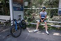 European Champion Matteo Trentin (ITA/Mitchelton-Scott) enjoying some shadow coolness during  a VERY hot (35°C) rest day 2 training ride with Team Mitchelton-Scott <br /> <br /> restday 2<br /> 106th Tour de France 2019 (2.UWT)<br /> <br /> ©kramon