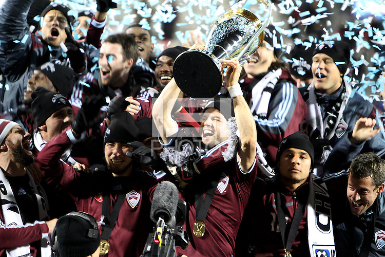 Drew Moor #3 with the trophy During post game trophy Celebration after MLS Cup 2010 at BMO Stadium in Toronto, Ontario on November 21 2010.