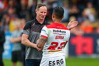 Picture by Alex Whitehead/SWpix.com - 12/05/2018 - Rugby League - Ladbrokes Challenge Cup - Castleford Tigers v St Helens - Mend-A-Hose Jungle, Castleford, England - St Helens' head coach Justin Holbrook and Ben Barba celebrate the win.