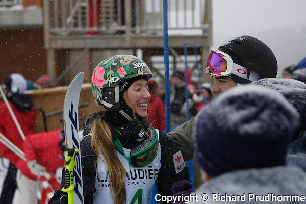 Chloe Dufour-Lapointe  talks with her fans after taking first place at the moguls event at Val Saint-Come