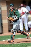 University of Miami Hurricanes catcher Alex San Juan #10  during a game versus the Boston College Eagles at Shea Field in Chestnut Hill, Massachusetts on April 26, 2013.  (Ken Babbitt/Four Seam Images)