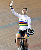 CALI – COLOMBIA – 19-02-2017: Kristina Vogel de Alemania celebrate después de ganar medalla de oro en la prueba Keirin Damas en el Velodromo Alcides Nieto Patiño, sede de la III Valida de la Copa Mundo UCI de Pista de Cali 2017. / Kristina Vogel from Alemania, celebrates after win the gold medal the silver medal in the Keirin Women Race at the Alcides Nieto Patiño Velodrome, home of the III Valid of the World Cup UCI de Cali Track 2017. Photo: VizzorImage / Luis Ramirez / Staff.