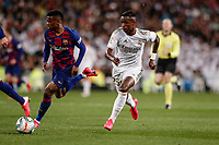 1st March 2020; Estadio Santiago Bernabeu, Madrid, Spain; La Liga Football, Real Madrid versus Club de Futbol Barcelona; Vinicius Junior (Real Madrid) breaks towards goal on the ball