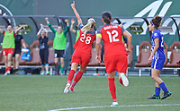 Portland, OR - Saturday May 27, 2017: Amandine Henry celebrates a goal during a regular season National Women's Soccer League (NWSL) match between the Portland Thorns FC and the Boston Breakers at Providence Park.