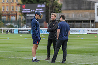 Joe Luca Smith of London Scottish (left) and previous London Scottish head of media, Oli Shapley (centre) of Ealing Trailfinders prepare for the Greene King IPA Championship match between London Scottish Football Club and Ealing Trailfinders at Richmond Athletic Ground, Richmond, United Kingdom on 8 September 2018. Photo by David Horn.