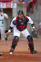 Cedar Rapids Kernels catcher Jhonatan Arias #23 looks on during a game against the Lansing Lugnuts at Veterans Memorial Stadium on April 29, 2013 in Cedar Rapids, Iowa. (Brace Hemmelgarn/Four Seam Images)