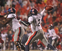 NWA Media/Michael Woods --11/22/2014-- w @NWAMICHAELW...Ole Miss quarterback DeVante Kincade fumbles the ball as he tries to drop back to pass in the 4th quarter of their 30-0 loss to Arkansas during Saturdays game at Razorback Stadium.