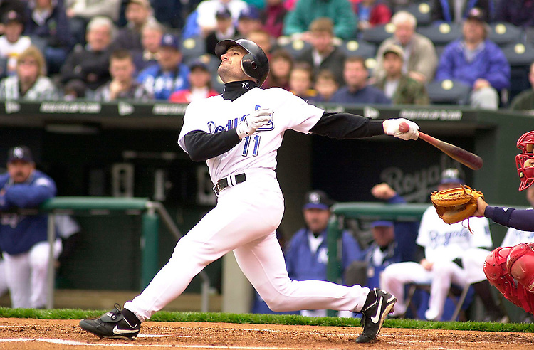 Royals DH Chuck Knoblauch looks at his pop fly to Boston Red Sox short stop Nomar Garciaparra in the first inning in the first game of a double header at Kauffman Stadium in Kansas City, Missouri on April 21, 2002.