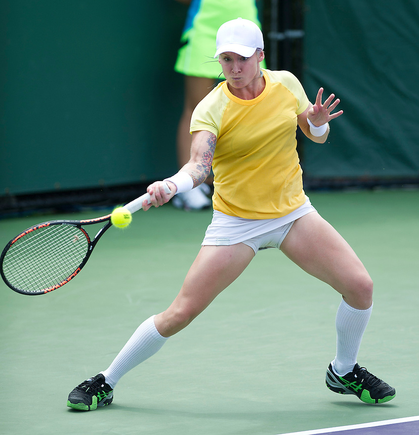 Bethanie Mattek-Sands (USA) in action against Misaki Doi (JPN) - B Mattek-Sands (USA) d. M Doi (JPN) 64 46 76(5).. - (Photo by Andrew Patron) - .Tennis - Sony Open Tennis - ATP World Tour Masters 1000 - Tennis Center at Crandon Park, Key Biscayne, Miami, Florida USA - Day 1 - Monday 18th March 2013..© CameraSport - 43 Linden Ave. Countesthorpe. Leicester. England. LE8 5PG - Tel: +44 (0) 116 277 4147 - admin@camerasport.com - www.camerasport.com