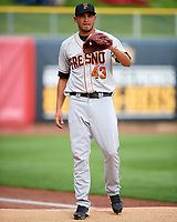 Fresno Grizzlies starting pitcher David Martinez (43) warms up in the bullpen before the game against the Salt Lake Bees in Pacific Coast League action at Smith's Ballpark on April 17, 2017 in Salt Lake City, Utah. The Bees defeated the Grizzlies 6-2. (Stephen Smith/Four Seam Images)