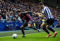 Leeds United's Helder Costa  competing with Sheffield Wednesday's Morgan Fox (right) <br /> <br /> Photographer Andrew Kearns/CameraSport<br /> <br /> The EFL Sky Bet Championship - Sheffield Wednesday v Leeds United - Saturday 26th October 2019 - Hillsborough - Sheffield<br /> <br /> World Copyright © 2019 CameraSport. All rights reserved. 43 Linden Ave. Countesthorpe. Leicester. England. LE8 5PG - Tel: +44 (0) 116 277 4147 - admin@camerasport.com - www.camerasport.com