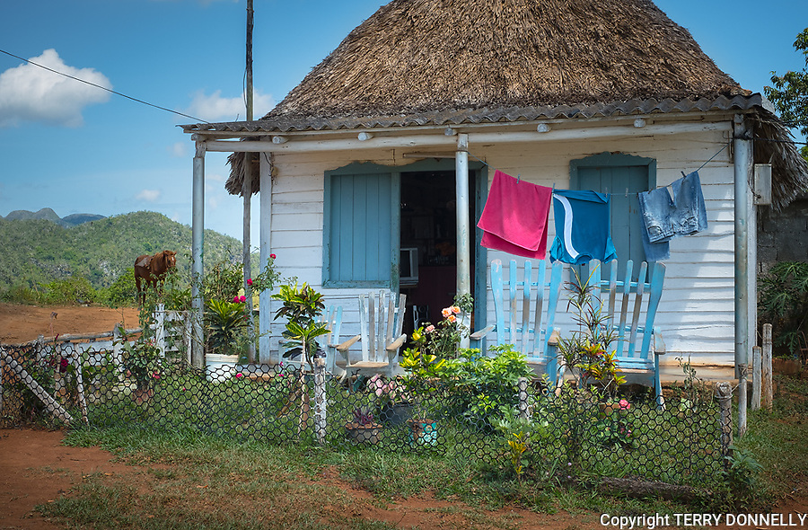 Vinales, Cuba:<br /> Rural house in the Sierra Rosario range, mojotes (limestone formations) and agricultural valley. Unesco World Heritage  Site