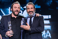 Jean-Jacques Rausin ( Magritte du meilleur acteur ) &amp; Jean Dujardin : 7&egrave;me C&eacute;r&eacute;monie des Magritte du Cin&eacute;ma, qui r&eacute;compense le septi&egrave;me art belge, au Square, &agrave; Bruxelles.<br /> 7th edition of the Magritte du Cinema awards ceremony.<br /> Belgium, Brussels, 4 February 2017