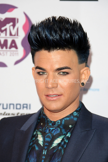WWW.ACEPIXS.COM . . . . .  ..... . . . . US SALES ONLY . . . . .....November 6 2011, Belfast....Adam Lambert arriving at the MTV Europe Music Awards at the Odyssey Arena on November 6 2011 in Belfast....Please byline: FAMOUS-ACE PICTURES... . . . .  ....Ace Pictures, Inc:  ..Tel: (212) 243-8787..e-mail: info@acepixs.com..web: http://www.acepixs.com