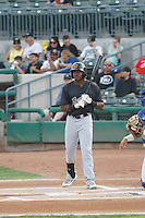 Visalia Rawhide centerfielder Alex Glenn (3) at bat during a game against the Stockton Ports at Banner Island Ballpark on August 15, 2015 in Stockton, California. Visalia defeated Stockton 9-1. (Robert Gurganus/Four Seam Images)